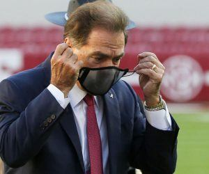 Alabama head coach Nick Saban tested positive for COVID-19 Wednesday afternoon and is presenting mild symptoms. He is to quarantine at for at least 10 days according to SEC protocol. (Image: AP)