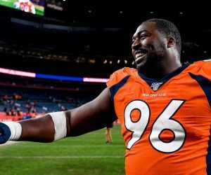 Denver Broncos defensive lineman Shelby Harris walks off the field after a home win. (Image: Getty)