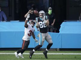 Carolina Panther Colin Thompson is the third-string tight end, but provided one of the NFL Week 10 highlights when he scored his first touchdown. (Image: AP)