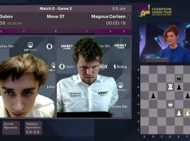 Daniil Dubov (left) upset Magnus Carlsen (right) to reach the semifinals of the Airthings Masters. (Image: Chess24.com/YouTube)