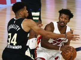 The Greek Freak (right) and the Milwaukee Bucks are fighting for the Eastern Conference title against Jimmy Butler and the Miami Heat. (Image: Kim Klement/Getty)