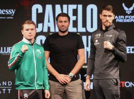 Canelo Alvarez (left) faces the undefeated Callum Smith (right) in a super middleweight title fight on Saturday. (Image: Ed Mulholland/Matchroom)