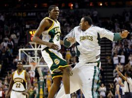 Kevin Durant celebrates during the  Seattle SuperSonics' last home game as a Seattle SuperSonics' the Dallasgame in Seattle, Sunday, April 13, 2008. The Sonics won 99-95. (Image: John Froschauer/AP)