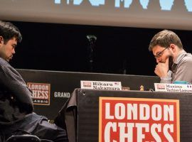 Hikaru Nakamura (left) will face Maxime Vachier-Lagrave (right) in the final of the 2020 Speed Chess Championship on Saturday. (Image: Maria Emelianova/Chess.com)