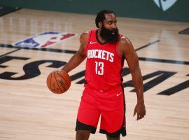 James Harden of the Houston Rockets seeks a fourth-straight NBA scoring title. (Image: Kim Klement/USA Today Sports)