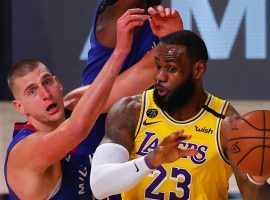 Nikola Jokic and the Denver Nuggets will attempt to topple LeBron James and the world champion LA Lakers in the Western Conference. (Image: Mike Ehrmann/Getty)
