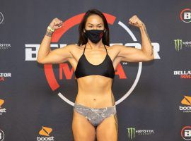 Ilima-Lei Macfarlane (pictured) will defend her flyweight title against fellow undefeated fighter Juliana Velasquez in the main event of Bellator 254. (Image: Wilson Fox/Bellator)