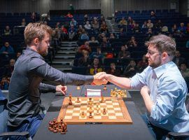 Magnus Carlsen (left) will take on Maxime Vachier-Lagrave (right) in the second Speed Chess Championship semifinal this Friday. (Image: Lennart Ootes/Grand Chess Tour)