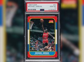 This Michael Jordan 1986-87 Fleer rookie card, graded Gem Mint by PSA. sold at auction for $150,000 on Monday. (Image: Robert Edwards Auctions)