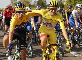 Primoz Roglic (left) and Tadej Pogacar (right) during the final stage of the 2020 Tour de France in Paris. (Image: Christophe Ena/AP)