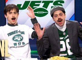 Timothee Chalamet and Pete Davidsion poke fun at the New York Jets in an SNL sketch. (Image: YouTube/Saturday Night Live)
