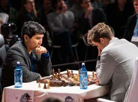 Wesley So (left) seeks a second straight Champions Chess Tour title at the Airthings Open, though he'll have to contend with Magnus Carlsen (right) and others. (Image: Nick Barton/Manila Bulletin)