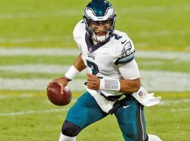 Rookie Jalen Hurts will start at quarterback for the Eagles this week. His running ability could yield high DFS scores. (Image: CBS Sports)