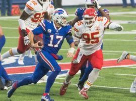Kansas City Chiefs DT Chris Jones chases Buffalo Bills QB Josh Allen during their meeting in Week 6. The Bills and Chiefs meet in the AFC Championship with the winner heading to the Super Bowl.