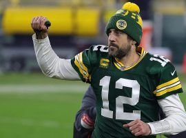 Aaron Rodgers of the Green Bay Packers lost in the NFC Championship the last two seasons, but oddsmakers listed them as one of the favorites to win Super Bowl 56 at +900 odds. (Image: Stacy Revere/Getty)