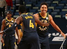 Victor Oladipo and Malcolm Brogdon celebrate an overtime victory for the Indiana Pacers. The Pacers and the Phoenix Suns meet this weekend as a battle of young upstarts. (Image: Getty)