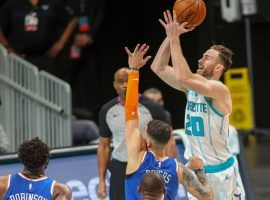 Charlotte Hornets forward Gordon Hayward seen here elevating over the NY Knicks. Hayward and the upstart Hornets, including rookie LaMelo Ball, are riding a four-game winning streak. (Image: Matt Slocum/AP)
