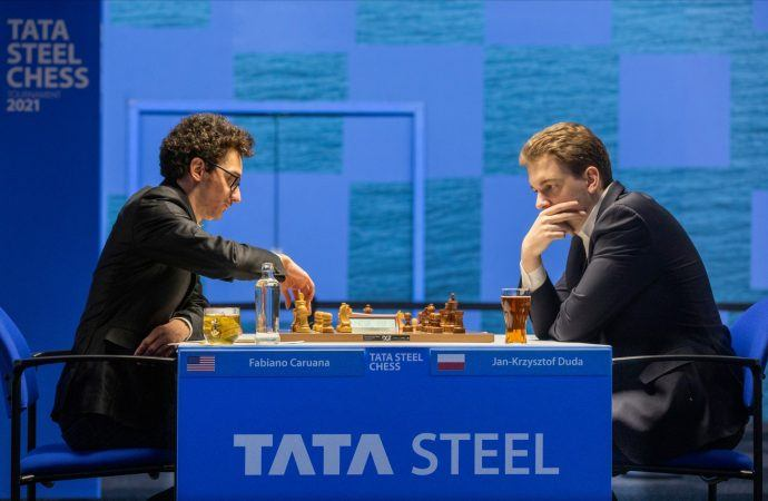 Fabiano Caruana (left) came close to winning at the Tata Steel Chess Tournament on Monday, but Jan-Krzysztof Duda (right) held on for a hard-earned draw. (Image: Jurriaan Hoefsmit/Tata Steel Chess Tournament 2021)