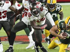 Tampa Bay Bucs LB Devin White (45) sacks Green Bay Packers QB Aaron Rodgers during a victory in Week 6 in Tampa. The Bucs and Packers meet in the NFC Championship (Image: Drik Shad/Tampa Times)