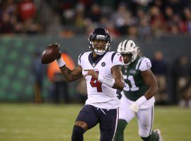 Houston Texans QB Deshaun Watson playing against the New York Jets at MetLife Stadium in 2018. The disgruntled Watson wants out of Houston and indicated the Jets would be his top choice. (Image: Getty)