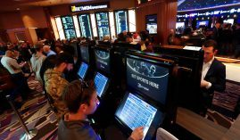 Michigan residents no longer have to enter a brick-and-mortar sportsbook, such as this one at MGM Grand Casino in Detroit, to place bets. Mobile sports betting is legal in the state as of Friday. (Image: WoodTV)