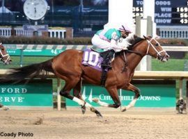 Mandaloun brings a versatile running style into the closer's haven that is the Lecomte Stakes at Fair Grounds. The Into Mischief offspring is the 3/1 favorite in the Kentucky Derby prep. (Image: Coady Photography)