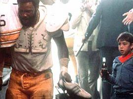 Mean Joe Greene drank more than 18 Cokes while making this iconic 1979 Super Bowl ad. (Image: Coca-Cola)