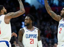 LA Clippers starters Paul George (13), Patrick Beverly (21), and Kawhi Leonard (2) will all miss the start of the team's roadtrip due to injuries or COVID-19 protocols. (Image: Jayne Kamin-Oncea/USA Today Sports)