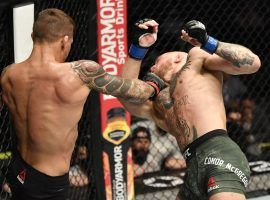 Dustin Poirier (left) stopped Conor McGregor (right) in the second round of their main event fight at UFC 257 on Jan. 23, 2021, shaking up the UFC lightweight title picture in the process. (Image: Jeff Bottari/Zuffa)