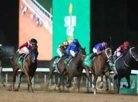 Maximum Security emerged victorious from this stretch drive in the 2020 Saudi Cup. More than 100 horses from nine countries were nominated to the second edition of the $20 million race. (Image: Reuters)