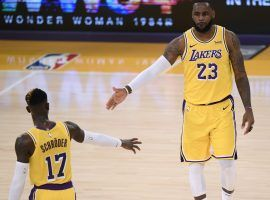 Dennis Schroder and LeBron James lead the LA Lakers to an NBA-best 10-3 record. The Lakers are the heavy favorites to win back-to-back NBA titles. (Image: Porter Lambert/Getty)