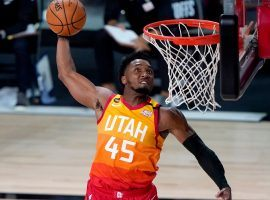 Donovan Mitchell of the Utah Jazz throws down a dunk during the team's eight-game winning streak (Image: Getty)