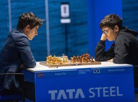 Alireza Firouzja got what he was looking for against Aryan Tari out of the opening, but ultimately settled for a draw in their Round 4 matchup at the Tata Steel Masters. (Image: Jurriaan Hoefsmit/Tata Steel Chess Tournament 2021)