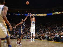 Steph Curry, seen here attempting a 3-point shot for the Golden State Warriors against the New Orleans Pelicans in 2016, continues to move up the NBA's career 3-point list. (Image: Noah Graham/Getty)