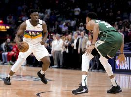 New Orleans Pelicans big man Zion Williamson, seen here during his rookie season making a move on Giannis Antetokounmpo, will meet the Greek Freak and the Milwaukee Bucks on Friday. (Image: Derick E. Hingle/USA Today Sports)