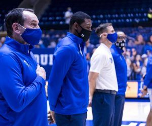 Duke head coach Mike Krzyzewski, 73, was back on the team's sidelines after quarantine in the wake of COVID-19 exposure from his family. In the post-game the legendary coach gave his thoughts on deadly insurgents at the Capitol and the state of the pandemic response. (Image: Getty)