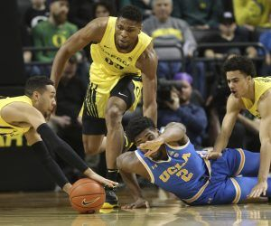 Pac 12 leaders Oregon and UCLA, both 9-2, have had to reschedule their next meet-up twice since December as Oregon battles its latest COVID-19 outbreak. The Ducks will travel to Los Angeles for a trio of make-up games, two at UCLA, one at USC, at the end of the month. (Image: AP)