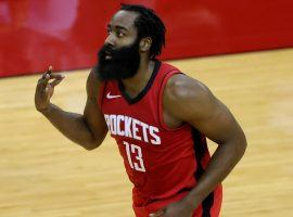 James Harden appearing in one of his last games with the Houston Rockets. The former MVP finally got his wish and the Rockets sent him to the Brooklyn Nets in a four-team trade. (Image: Carmen Mandato/USA Today Sports)