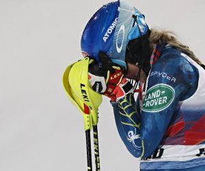 American Mikaela Shiffrin can't hold the emotions in as she crossed the finish line at Flachau, Austria in first Tuesday night. It was her 100th World Cup podium and first slalom victory since before her father passed away last February. (Image: Getty)