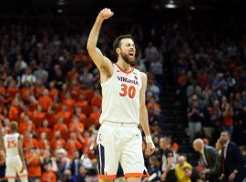 CHARLOTTESVILLE, VA - MARCH 07: Jay Huff #30 of the Virginia Cavaliers celebrates in the second half during a game against the Louisville Cardinals at John Paul Jones Arena on March 7, 2020 in Charlottesville, Virginia. (Photo by Ryan M. Kelly/Getty Images)