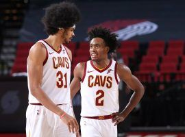 Cleveland Cavs center Jarrett Allen and guard Colling Sexton during a game against the Portland Trail Blazers at the Moda Center in Portland, Oregon. (Image: Sam Forencich/Getty)