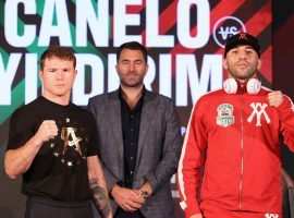 Canelo Alvarez will fight mandatory challenger Avni Yildirim on Saturday in a bout that should amount to little more than a warmup for the champion. (Image: Ed Mulholland/Matchroom Boxing)