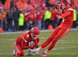 Kansas City Chiefs kicker Harrison Butker, seen here attempting a field goal in 2018, did not miss a kick in Super Bowl 54. (Image: Peter G. Aiken/Getty)