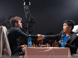 Magnus Carlsen and Wesley So will renew their rivalry in the finals of the Opera Euro Rapid tournament. (Image: Maria Emelianova/Chess.com)