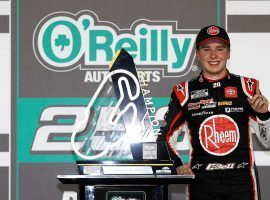 Christopher Bell picked up his first ever NASCAR Cup Series win on Sunday by claiming victory at the Daytona road course. (Image: Chris Graythen/Getty)