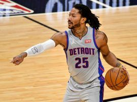 Derrick Rose, seen here calling out a play with the Detroit Pistons, returns to the New York Knicks for his second stint with the team. (Image: Suzanne Greenberg/Getty)