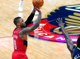 Damian Lillard takes a 3-point shot against the New Orleans Pelicans to keep the winning streak alive for the Portland Trail Blazers. (Image: Walt Fagen/Getty)