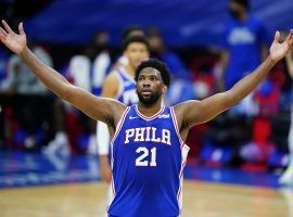 Philadelphia 76ers center Joel Embiid, seen here reacting to a victory over the Chicago Bulls, set a new career-high with 50 points. (Image: Matt Slocum/AP)