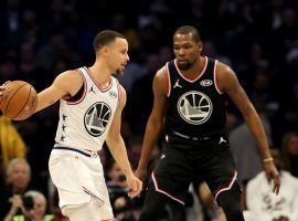 Brooklyn Nets big man Kevin Durant, seen here guarding Steph Curry in the 2018 NBA All-Star Game, plays his first away game in his old stomping grounds when the Golden State Warriors host the Nets. (Image: Streeter Lecka/Getty)