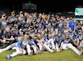 The Los Angeles Dodgers pose for a team picture after winning the 2020 World Series. (Image: LA Times)
